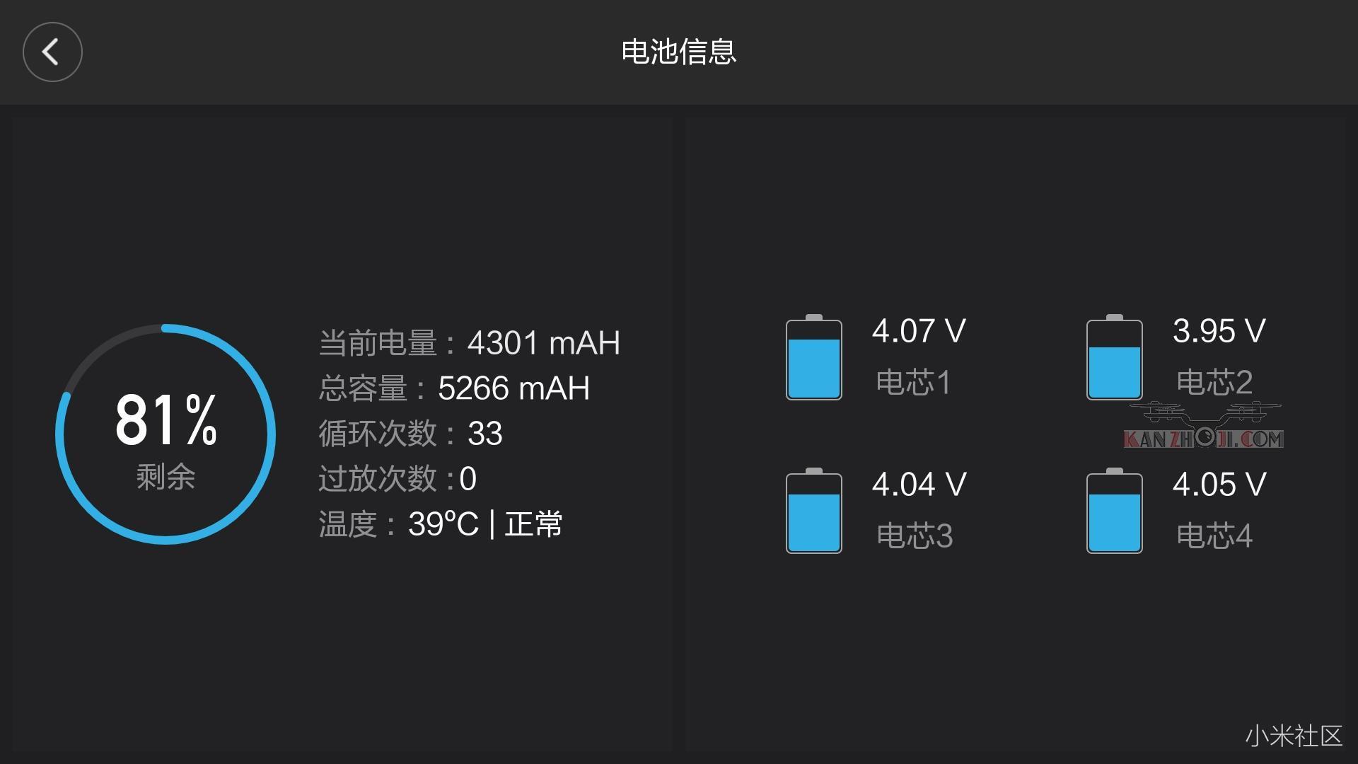 4K无人机航拍不久提示一块电池电芯可能异常