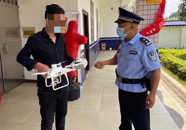男子在高铁站附近飞起无人机被查获