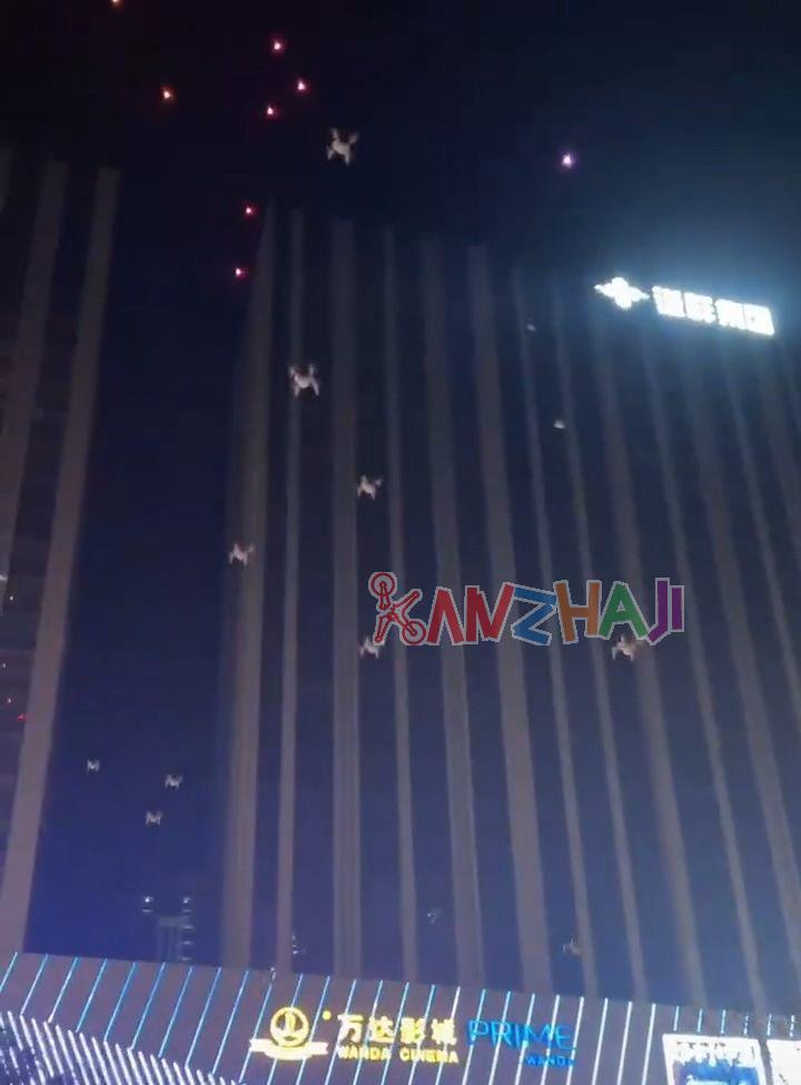 郑州高新区万达无人机编队表演事故,严重集体炸机