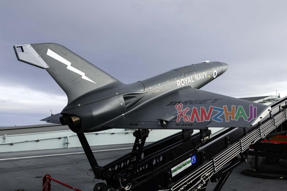 英国皇家海军试验从新航母上发射女妖喷气式无人机